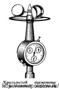 Крыльчатый анемометрс мельничной вертушкой